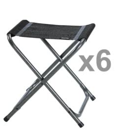 6 taburetes de camping plegables VIP BLACK